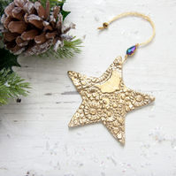 Gold Christmas Star Decoration