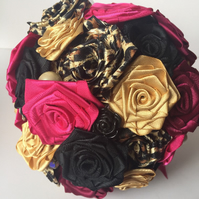 Rockabilly Handmade Ribbon Rose Bouquet Leopard Print Hot Pink Pearls