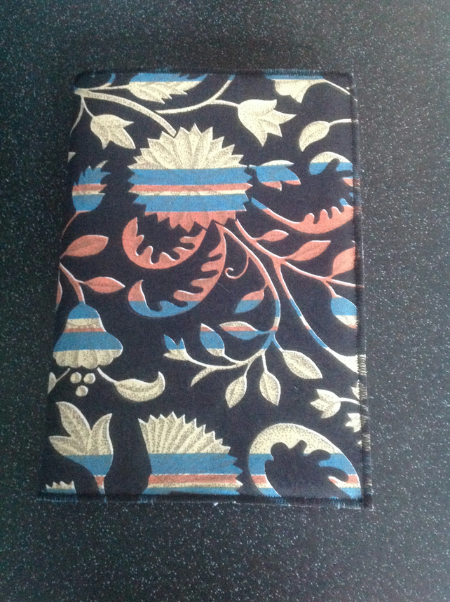 Abstract floral fabric covered A5 Notebook
