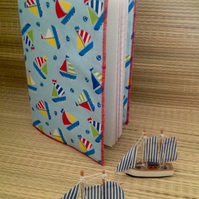 Bright sailing boat themed covered A5 notebook