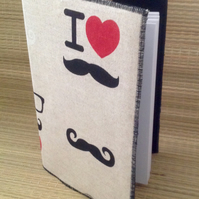 Moustache themed covered A5 notebook