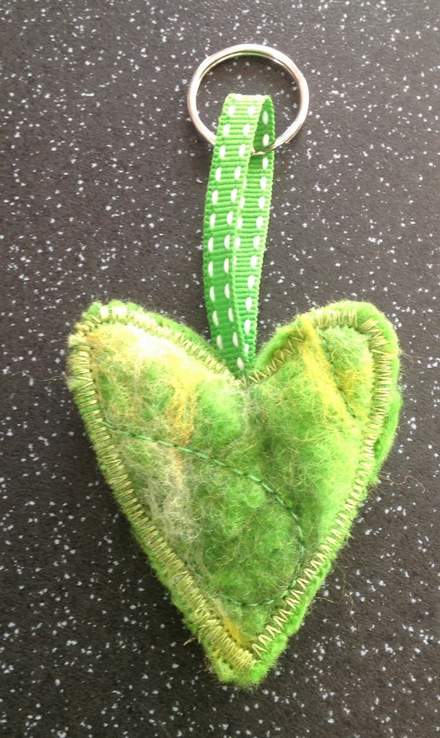 Hand felted heart key ring