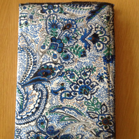 Paisley silky fabric covered A5 notebook
