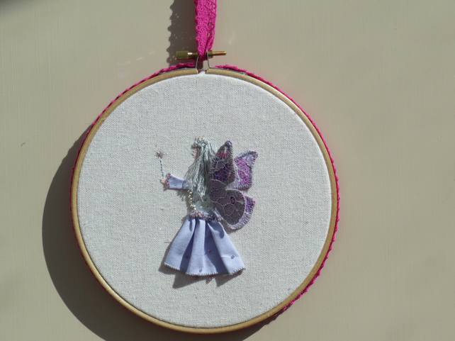 Embroidery hoop fairy