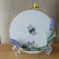 Embroidered Bee with lavender
