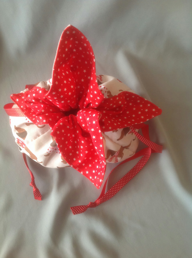 Christmas Drawstring Petal bag (medium)