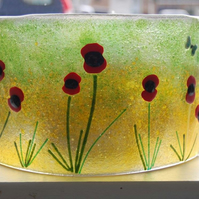 Fused glass candle shield - poppy field