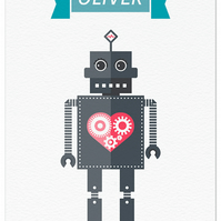 Robot Illustration Print - Capitaine du Coeur