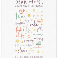 Personalised Mother's Day Print - Dear Mum