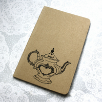 Vintage Teapot print notebook, Victorian style, Moleskine Cahier Journal, Lined.