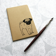 Pug print notebook, Dog print, Moleskine Cahier Journal, Lined pages