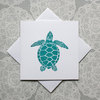 Turquoise Turtle Lino print Greetings card
