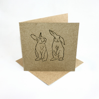 Bunny rabbit Lino print Kraft Greetings card