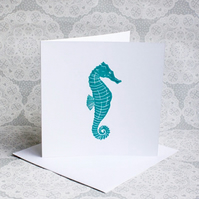 Turquoise Seahorse Lino print Greetings card