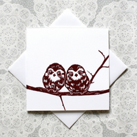 Owl Lino print Greetings card