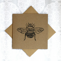 Bumble bee Lino print Greetings card with recycled kraft card