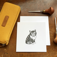 Grey tabby Cat Lino print Greetings card