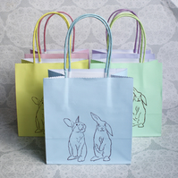 Bunny gift bag set of 5, Small Pastel party bags, Birthdays, Rabbits
