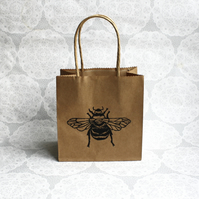 Bumble bee kraft gift bag, Small Paper party bags, Birthdays, insects