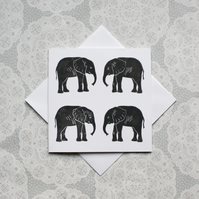 Grey Elephant Lino print Greetings card