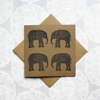 Grey Elephant Lino print kraft Greetings card