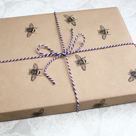 Bumble bee gift wrap, hand printed, Lino print, Honey bee's