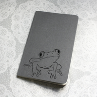 Frog print notebook, Grey Moleskine Cahier Journal, Lined pages, Lino printed