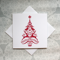 Christmas tree handmade Lino print Greetings card