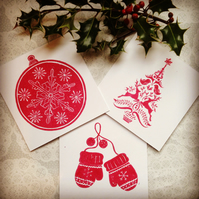 Christmas theme card set of 3 handmade Lino print Greetings card