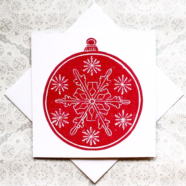 Christmas bauble handmade Lino print Greetings card