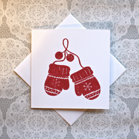 Christmas mittens handmade Lino print Greetings card