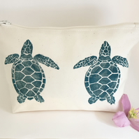 Turquoise Turtle printed Cotton zip bag, lino print, Birthday, Makeup bag