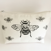 Bumble bee printed Cotton zip bag, lino print, Birthday, Makeup bag