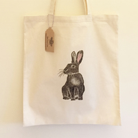 Bunny print Tote bag, 100% cotton, 38cm x 42cm, Long handles, shoppers bag,