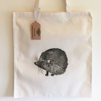 Hedgehog print Tote bag, 100% cotton, 38cm x 42cm, Long handles, shoppers bag,