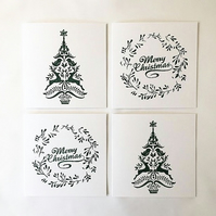 Green Christmas card set of four, christmas tree and wreath