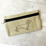 Dachshund print pencil case on natural eco friendly Jute material, Hand printed.