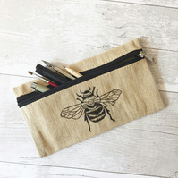 Bumble bee print pencil case jute material