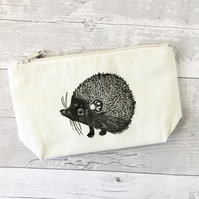 Hedgehog print Cotton wash bag, makeup bag, toiletry bag, Hand printed