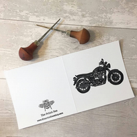 Triumph Bonneville motorbike greetings card, Vintage bike, Retro, cards for men