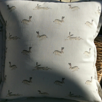 Sophie Allport Hares fabric cushion cover.