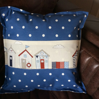 "Nautical Dotty Denim Blue Beach Huts cushion cover to fit 18"" infill."