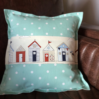 "Nautical Dotty Sea foam  with Beach Huts cushion cover to fit 18"" infill."