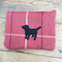Make up bag. Tweed with Black Labrador appliqué