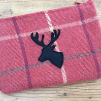 Make up Bag with Stag Head appliqué