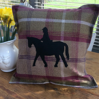 "Horse Rider Balmoral Heather Tartan Cushion Cover made to fit 18"" infill"
