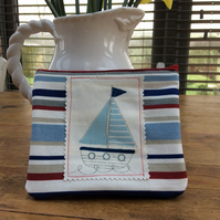 Cosmetic Bag or Phone Case Nautical Stripes With Sailing Boat