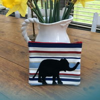 Cosmetic Bag or Phone Case. Striped Bag with Elephant Appliqué.