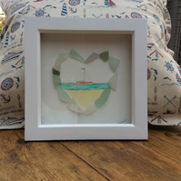 Sailing boat watercolour in Cornish Sea Glass Heart framed picture