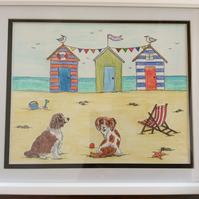 Springer Spaniels at the seaside watercolour framed painting